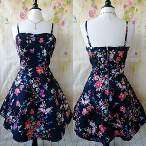 Black Floral Sweetheart Spaghetti Strap Flare Dres